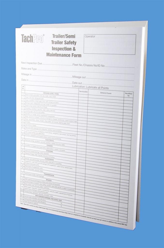 TachPro trailer safety inspection maintenance pad