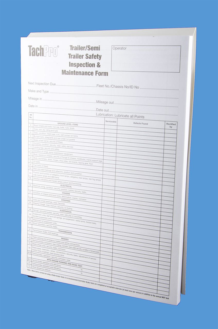 trailer safety inspection maintenance report form